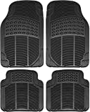 OxGord FMPV01A-BK Front & Rear, Driver & Passenger Seat Ridged Heavy Duty Rubber Floor Mats for Cars, SUVs, Vans & Trucks, Black, Pack of 4