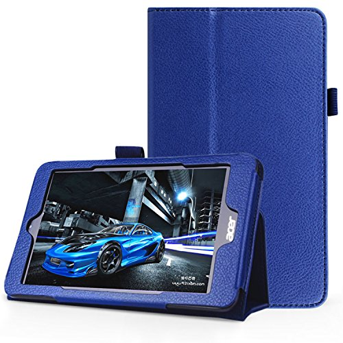 FanTEK Acer Iconia One 8 B1-810 8-Inch Case - PU Leather Multi-Angle Stand Magnetic Smart Cover (Dark Blue) (Notebook Acer Accesories compare prices)
