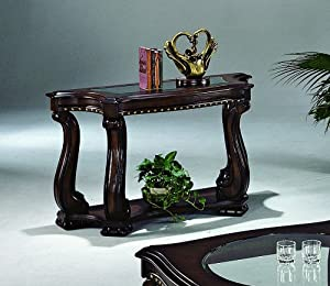 Madison cappuccino sofa table with glass for Kitchen table with glass insert