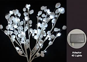Hi-Line Gift 37394-40 Floral Lights Lighted White Snow Ball Branch with 40  LED Lights, 20-Inch Height, Cool White