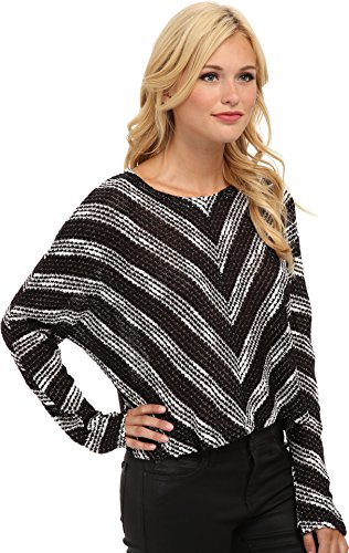 MINKPINK Women's Starry Knit Chevron Sweater, Black/White, X-Small