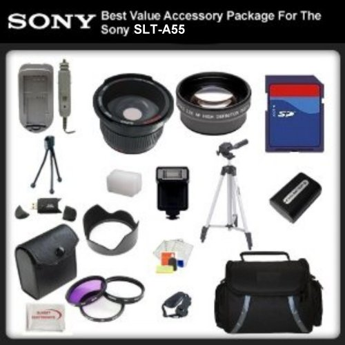Best Value Aide Package For Sony SLT-A55 includes: 16GB Hi Sprint Error Free Memory Card, Hi Run Card Reader, Extended Battery & Charger, Actively Flower lens Hood, 0.5x Expert Wide Angle Lens , 2X Telephoto Lens, 50 Inch tripod, Digital Video Jiffy, Flas