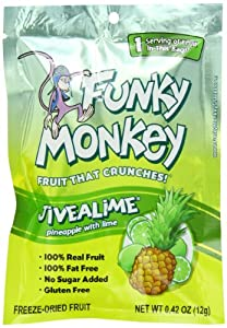 Funky Monkey Snacks Jivealime, 0.42-Ounce Bags (Pack of 12)