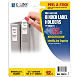 C-Line Self-Adhesive Binder Label Holders for 4 to 5-Inch Binders, 2.25 x 3 Inches, 12 per Pack (70035)