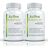 Active Balance (2 bottles) - Clinical Strength Probiotic supplement containing 50 billion CFU's (30 Capsules per Bottle)