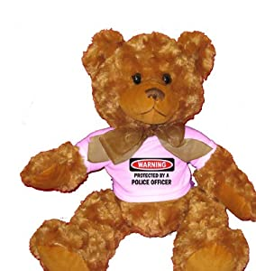 PROTECTED BY A POLICE OFFICER Plush Teddy Bear with WHITE T-Shirt