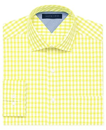 Tommy hilfiger gingham long sleeve dress shirt yellow 15 for Mens yellow gingham shirt