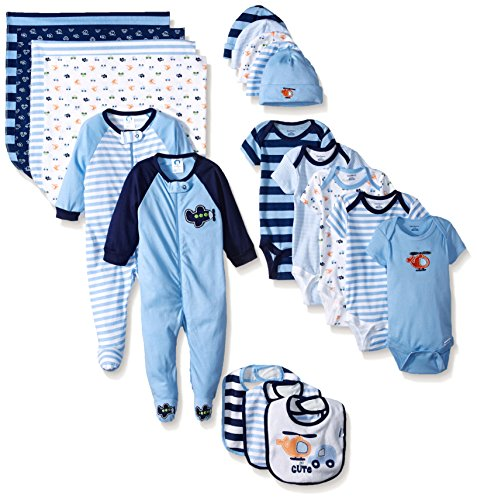 Gerber Boys' 19 Piece Essentials Gift Set, Transportation, Newborn