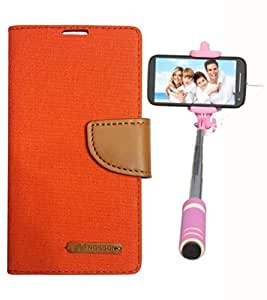 Aart Fancy Wallet Dairy Jeans Flip Case Cover for Asuszen-5 (Orange) + Mini Fashionable Selfie Stick Compatible for all Mobiles Phones By Aart Store