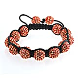Bling Jewelry Red Swarovksi Crystal Shamballa Inspired Bracelet Unisex 10mm