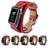 Apple Watch Band,Teslasz 38 mm Replacement Luxury Cuff Genuine Leather Watch Band Straps Bracelet Wrist Band With Adapter Clasp for Apple iWatch All Models (Red 38 MM)
