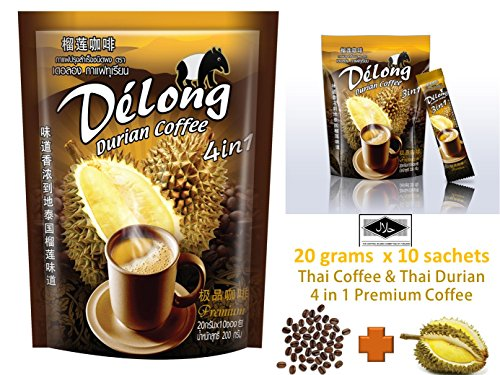 De'Long ( Delong ) 4 in 1 Premium Durian Coffee - Real Durian and Best Coffee from Thailand 20 grams x 10 sachets (Jelly Bean Air Freshener compare prices)