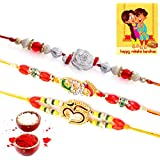 Traditional Villa Handcrafted 3 Pc Fancy Rakhi N Greeting Card Gift Rakhi For Brother With Gift Combo And Rakhi For Bhaiya Bhabhi Combo Free Shipping+Roli+Chawal+Greeting Card !!-3Rgs1143