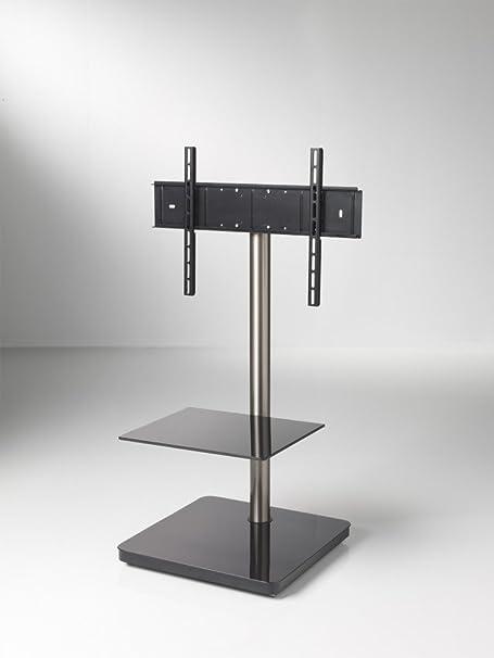 PureMounts TV Standfuß (PM-204) +30° bis -30° schwenkbar - fur Fernseher von 23' Zoll (58cm) bis 65' Zoll (165cm) - VESA 200x200 bis 600x400 - integrierter Kabelschacht - verdeckte Rollen - Glasablage - schwarz