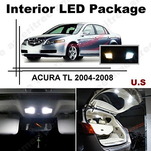 Ameritree Xenon White Led Lights Interior Package + White Led License Plate Kit For Acura Tl 2004-2008 (11 Pcs)