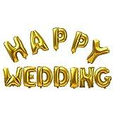 Amazon.co.jp【ノーブランド品】シャイニーゴールド HAPPY WEDDING フォイルエ アヘリウム 風船 ブライダル ウェディング パーティー デコレーション