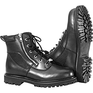 River Road Side-Zip Highway Men's Leather Harley Motorcycle Boots - Black / Size 11