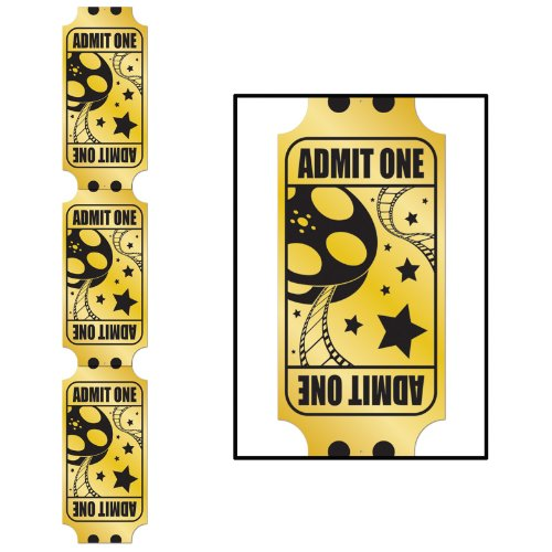 Jointed Foil Golden Ticket Pull-Down Cutout Party Accessory (1 count) (1/Pkg)