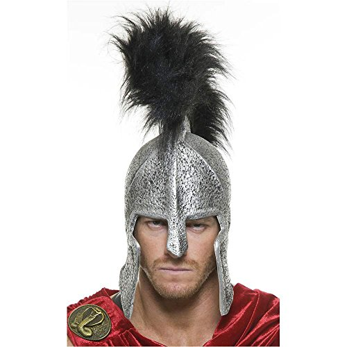 Spartan Legions Silver Helmet with Black Feather Crest - One Size