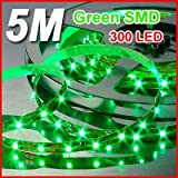 Generic Flexible Waterproof Ribbon LED Strip Light Lamp Strip light Kit 5M 300 LED 3528 SMD Flexible Car Strip Light 300 LEDs, 5 Meters (16.4 Feet) Spool, 12VDC Input (green)