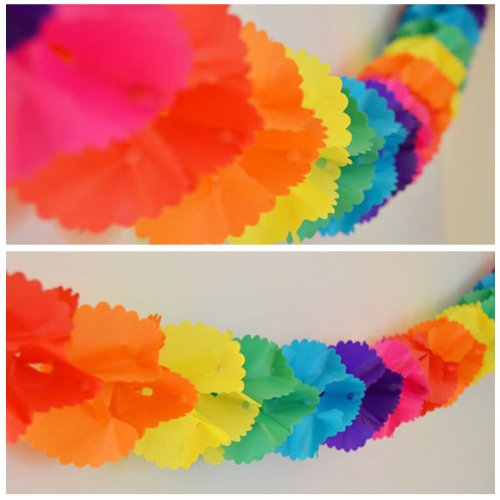 Rainbow Paper Garland - 12 Ft Long