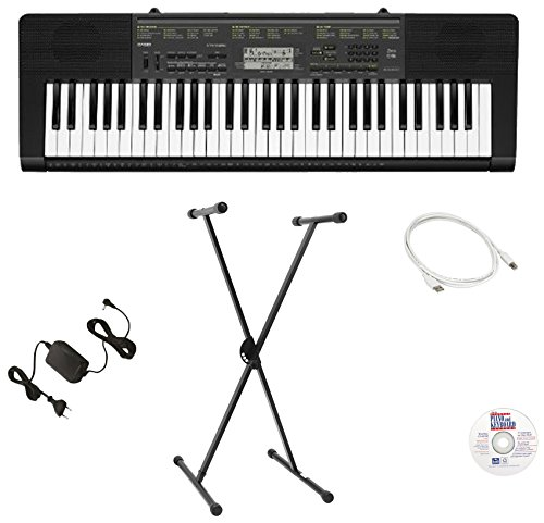 Casio Ctkvk3 Epx 61-Key Premium Keyboard Bundle With Emedia Instructional Software, Keyboard Stand, Power Supply, And Usb Cable