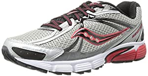 Saucony Men's Ignition 5 Running Shoe,Silver/Black/Red,10.5 M US