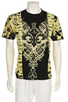 Majestic Tie Dye Rhinestone Fleur De Lis Screen Printed Short Sleeve Crew Neck Cotton Mens Fashion T-Shirt - New !