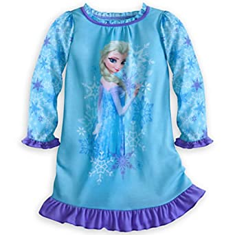 Disney Frozen Elsa Long Sleeve Nightgown Nightshirt (M 7-8 Medium)