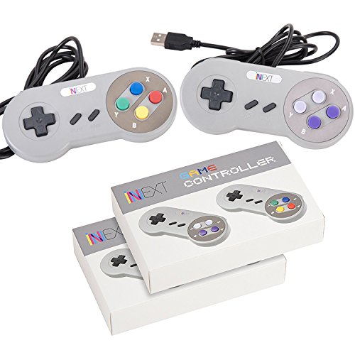 New SNES Super Nintendo Controller , Retro USB Super Classic Controller for PC/Mac (Pack of 2)