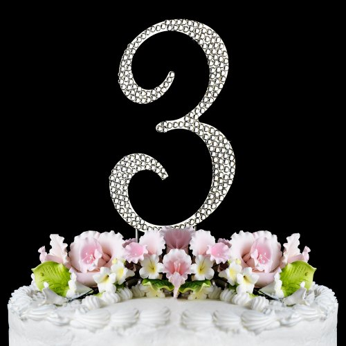 Rhinestone Cake Topper Number 3 (Number Cake Topper compare prices)