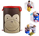 BXT Cute Animal Folding Pop up Laundry Basket Bin Toys Storage Bag Room Tidy Washing Hampers with Handles