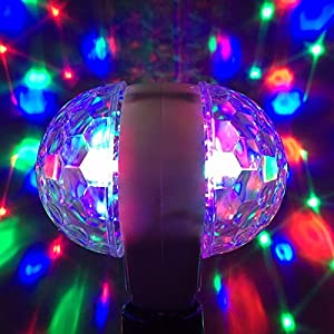 Multicolor Bulb, GLISTENY Rotating Stage Light Disco Lamp Integrated Crystal Magic Bulb double-headed LED Stage Light Colorful Light 3W for KTV Disco