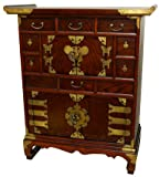 "Asian Furniture & Decor - 32"" Japanese Secret Drawer Scholars Chest Tansu Cabinet #VC364"
