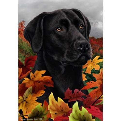 Fall Leaves Garden Size Flag Black Labrador Retriever