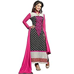 HK Trading Women's Georgette Unstitched Dress Material (MHARI72836116780_ Pink Black_Free Size)