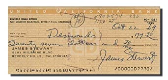 JAMES (Jimmy) STEWART - Signed Bank Note/Check