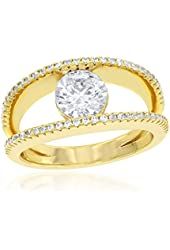 Sterling Silver Gold-Plated Double Band with Center Circle CZ Ring