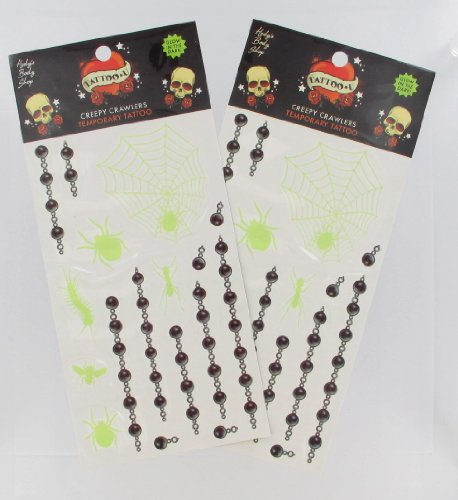 2 Sheets of Glow in the Dark Halloween Spiders and Insects Temporary Tattoos - 1