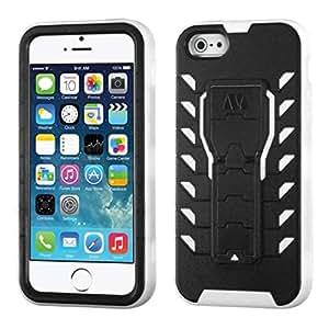 MyBat Apple iPhone 5S/5 TUFF Treadz Hybrid Protector Cover - Retail Packaging - Black/White