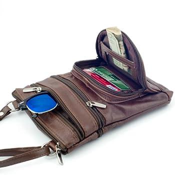 Roma Leathers Genuine Leather Multi-Pocket Crossbody Purse Bag 2