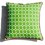 Homeblendz Reversible Dots & Zig Zag Printed With Piping Green/white 40x40 Cushion Cover. Can Be Use In Either...