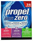 Propel Zero Calorie Nutrient Enhanced Water Beverage Mix (36 packets) 3 different flavors (berry, grape & kiwi strawberry)