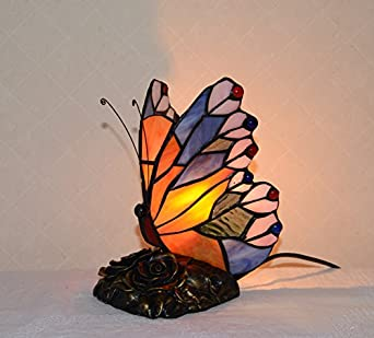stained glass tiffany style jeweled butterfly night light table lamp. Black Bedroom Furniture Sets. Home Design Ideas