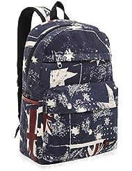 "17.5"" Canvas Retro Union Jack Flag Design Fashion Backpack / Kids School Bookbag"