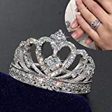 Zhiwen Crown 925 Silver White Sapphire Queen Ring Engagement Proposed Women Jewelry Size 6-10 (US Code 7) (Tamaño: US code 7)