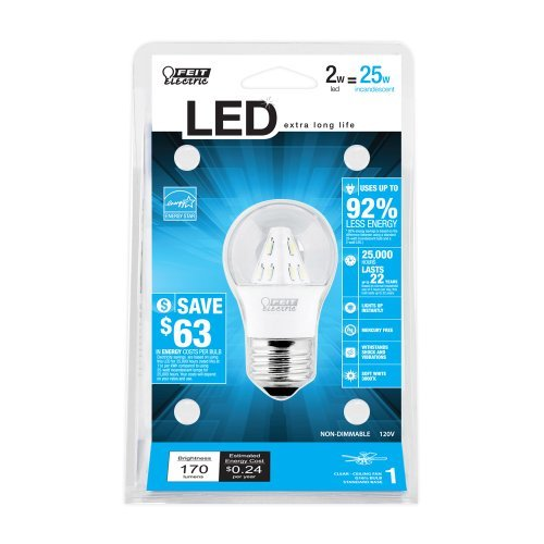 Feit Electric Bpa15/Cl/Led/Rp Accent Led A15 Bulb, Clear Packagequantity: 1