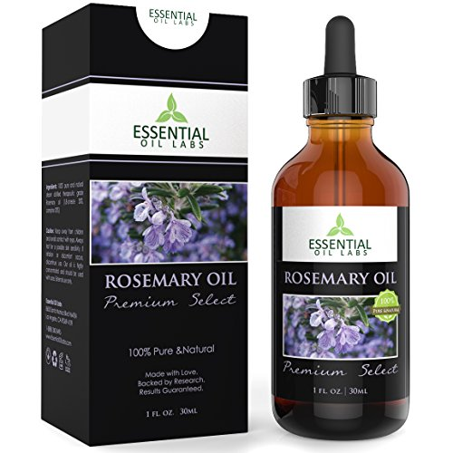Rosemary Oil - Highest Quality with 1,8-cineole 30%, camphor 20% 1 Ounce Bottle with Glass Dropper - Premium Select by Essential Oil Labs Camphor Bath