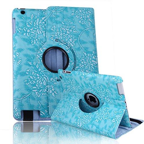 HDE iPad 2/3/4 Tablet Case Rotating Flip Stand Folding Magnetic Cover Designer for Apple iPad 2/3/4 (Blue Flower)