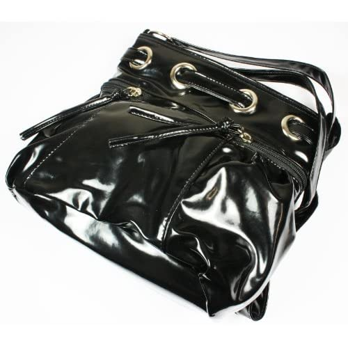 On Sale Ex High Street, Patent Across Body Handbag Shoulder Bag Faux Leather Adjustable Strap, 23 x 22 cms Approx